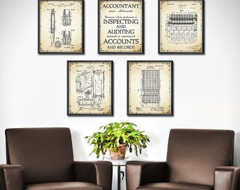 Accountant Gift   Accountant Patent Prints Set Of 5   Accounting   Book  Keeping   Office