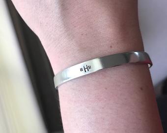 Monogrammed silver cuff bracelet, graduation gift, sorority gift, jewelry for mom, monogrammed jewelry, sterling silver bracelet,