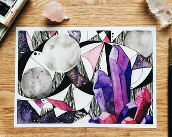 Brilliance - Geo Collection - Original Watercolor Painting - PRINT - 5x7