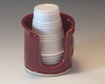 Bathroom Cup Holder (3 oz) - Pottery Cup Dispenser - Ceramic Cup Holder - Red Bathroom Cup Holder