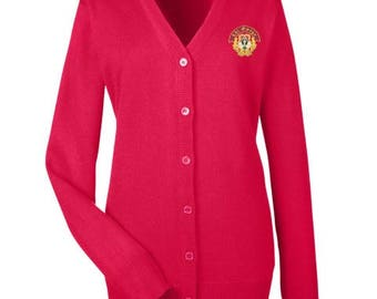 Chi Omega Cardigan Sweater with Crest