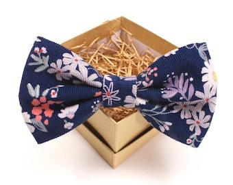 Corduroy Floral Bow Tie - Mens Pre-Tied Bow Tie - Womens Pre-Tied Bow Tie - Navy and Purple Floral Bow Tie