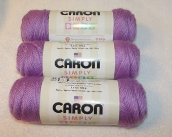 Caron Simply Baby Yarn, 3 Pack Baby Yarn, Pixie Purple Yarn, Baby Purple Yarn, Caron Baby Yarn, Purple Afghan Yarn