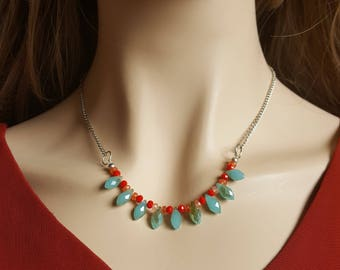 Aqua and Red Statement Necklace
