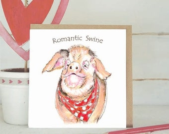 Pig Card - Romantic Swine -Birthday - Valentine's Card - Love - Cute Animal Cards - Valentines - Pigs - Cute - Funny Cards -----code  V03