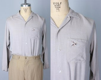 Vintage 1950s Men's Shirt | Taupe Gabardine Shirt with Atomic Firework Embroidery on Pocket | Medium