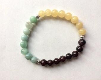 Amazonite, Garnet & Yellow Jade Gemstone Bracelet