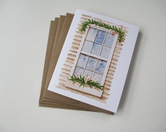 Snowy Window Watercolor Note Card Set | Blank Note Cards | Hand Painted | Watercolor Painting