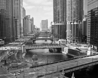 Downtown Chicago River and Skyscrapers Landscape Black and White Photograph 12x17