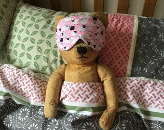 Sleep Eye Mask in cheeky pink sheep fabric.  Great for relaxation, travel, hospital stays, hen nights, sleep overs
