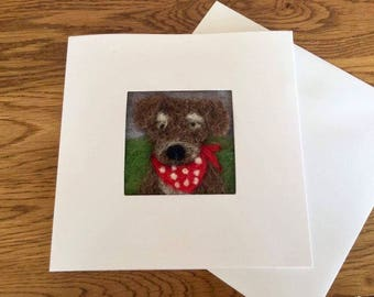Dog in a bandana needle felt birthday card. Needle felted picture on a linen panel in a blank card for your own message