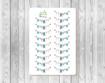 S091 - 19 Laundry Clothesline Planner Stickers