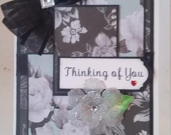 Handmade, handcrafted, unique Thinking of you Greeting Card