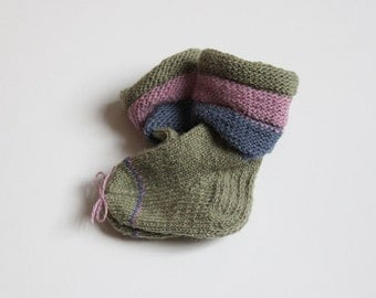 Warm wool socks for baby girls, toddlers, olive green with pink and grey