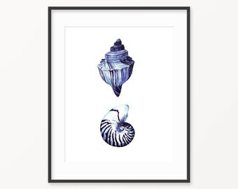 Nautical print, Ocean print, Seashell print, watercolor print, printable nautical art, printable shell, dark blue print, wall art decor,