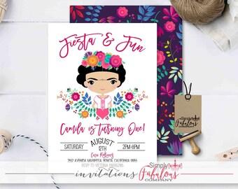Frida Kahlo Birthday Party Invitation, Mexican First Birthday Fiesta Invitation, Mexican Fiesta Invitation, Fiesta Birthday DIGITAL FILE