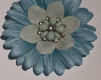 Blue flower with rhinestone center hair clip