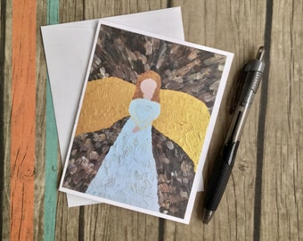 Angel Note Card with Envelope - Religious Card - Angel Card - Mini Art Card- Christian Art Card - Custom Note Card - Christian Card