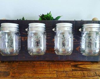 Mason Jar Wall Organizer | Shabby Chic Decor | Rustic Farmhouse | Flower Vases | Fixer Upper | Reclaimed Pallet Wood | Pint Size Mason Jars