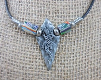 Vintage Gecko Lizard Arrow Head Pendant Necklace