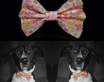 Pinkflowery Dog Bow Tie - Pink
