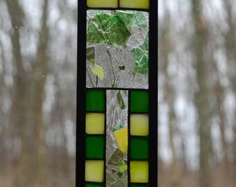 Stained glass prairie green and yellow suncatcher, 9.5 x 2.5
