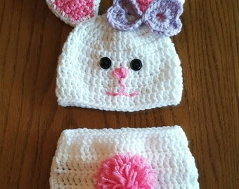 Crochet bunny hat and diaper cover.