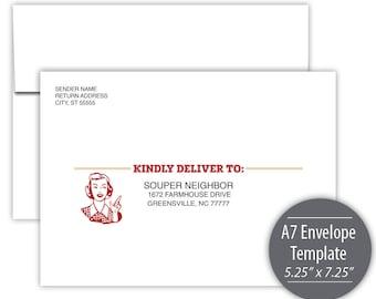 Soup Swap A7 Envelope Template --- Instant Download - Printable --- #C501-IE-D