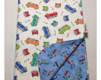 Volkswagen baby blanket, receiving blanket, flannel blanket, swaddler, van bus blanket, security blanket, volkswagen bedding