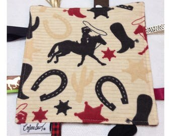 Cowboy tag toy, rodeo baby tag toy, baby crinkle paper, cowboy baby toy