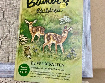 Vintage Bambi's Children 1950 by Felix Salten, Vintage Children's Book Adapted for Ages 5 to 10, Children's Picture Book, Animal Stories