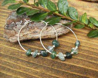 Green Gemstone Hoop Earrings, Green Stone Earrings, Moss Agate Nugget Earrings, Sterling Silver, Earthy, Modern, Contemporary, Gift Idea