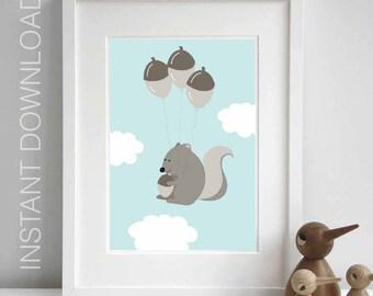 Nursery decor squirrel nursery prints baby boy nursery printable wall art nursery animal prints digital baby decor. INSTANT DOWNLOAD