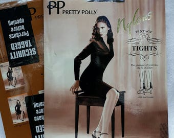 """2 x Pretty Polly Nylons range """"Vintage"""" tights with back seam 10d, size S/M 'barely black'"""