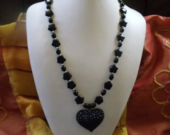 Onyx with Rhinestone Heart of jewelry Neclaces