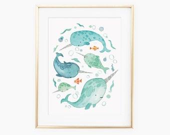 Hand painted watercolor narwhals print / Nursery art / Kids Art