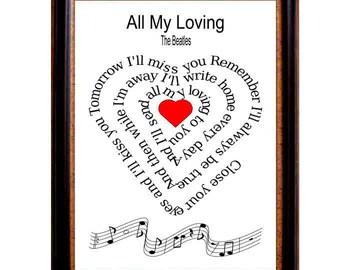 All my loving, The Beatles, Typography art ,print, Original Beatles art, Beatles Art, Music art print, Song Lyric, heart ,Spiral art,  Music