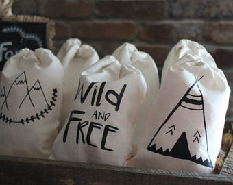 Wild and Free - party favor bag - 100% cotton - wild and free gift bag trio set of 9