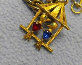 Vintage Lovebirds Charm Bracelet