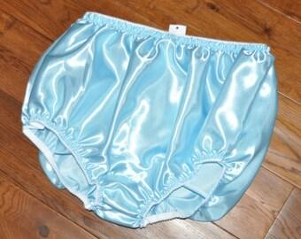 EE 37 - XL Soft satin panties in baby blue, lace free sissy wear, Sissy Lingerie