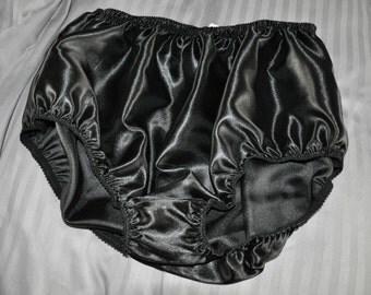 EE 40 - XL Soft satin panties in black, lace free sissy wear, Sissy Lingerie