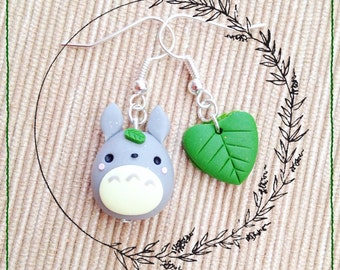 Miyazaki Ghibli Totoro earrings ~ Cute Kawaii Earrings Polymer Clay Fimo tonarinototoro My Neighbor Totoro my Neighbor Totoro Leaf