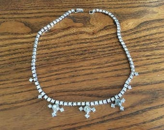 Vintage Clear Crystal Rhinestone Choker Necklace 1167