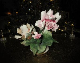 ITALY CAPODIMONTE ROSES in Vase