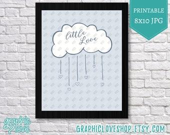 Printable 8x10 Blue Little Love Nursery | Digital High Resolution JPG File, Instant Download