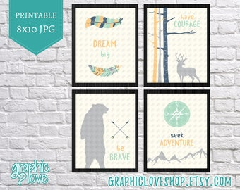 Printable Woodland/Wild One Art Set of 4, Dream Big, Have Courage, Be Brave, Seek Adventure | Mint, Navy | 8x10 JPG Files, Instant Download