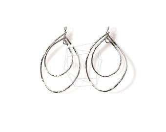 PDT-1085-R/2PCS/Small Hammered Double Teardrop Hoop Pendant/24mm x 37mm/Rhodium Plated over Brass