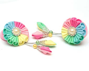 Set of 2 Kanzashi ponytail. Blue pink yellow green kanzashi. Kanzashi fabric flowers. Ponytail holder. Hair clips. Pastel rainbow hair clips