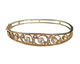 Edwardian 14K Gold Diamond Bangle Bracelet