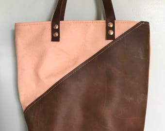 Leather and waxed canvas tote